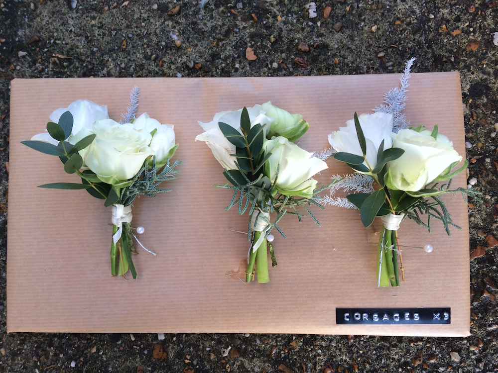 white winter corsages at cissbury
