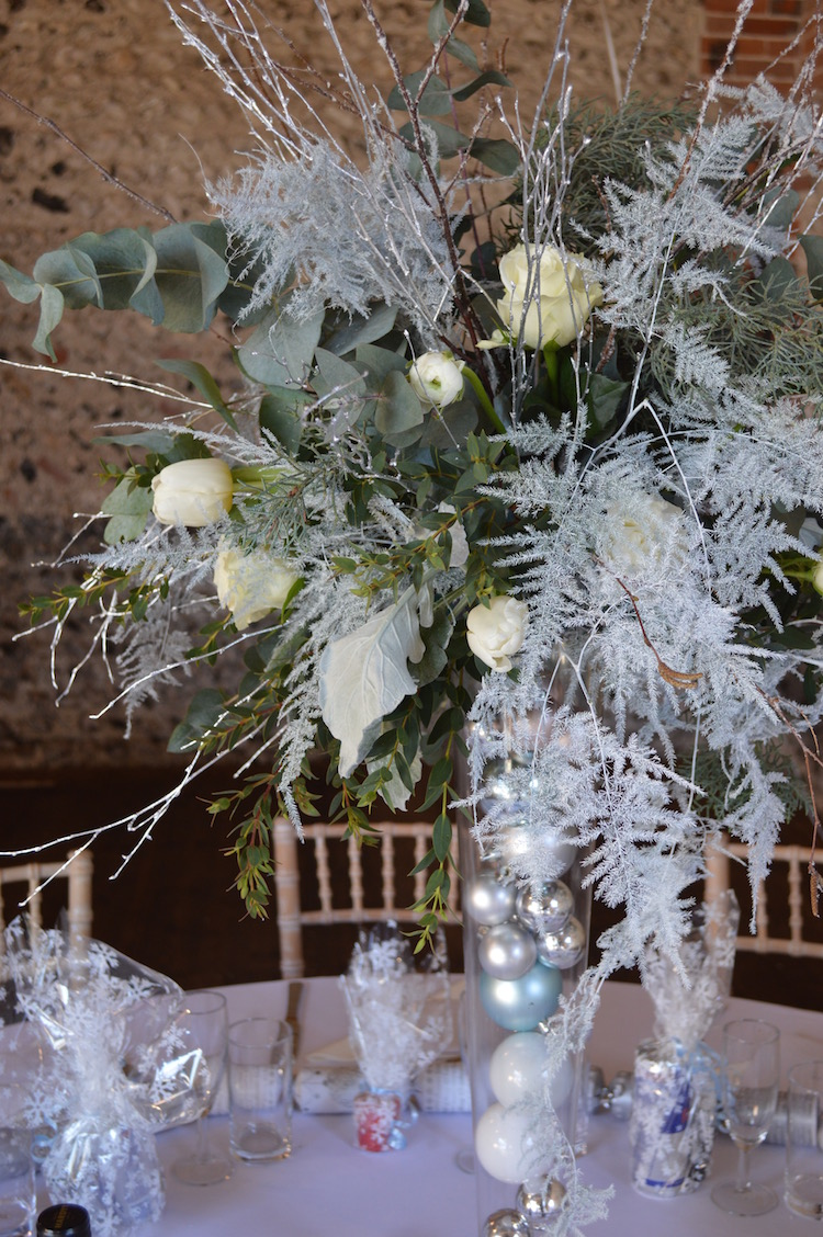 winter white and silver table arrangement