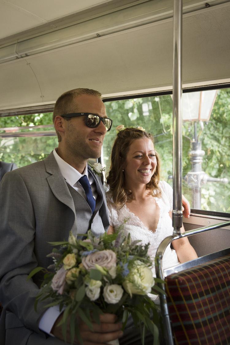 bride and groom vintage bus sussex
