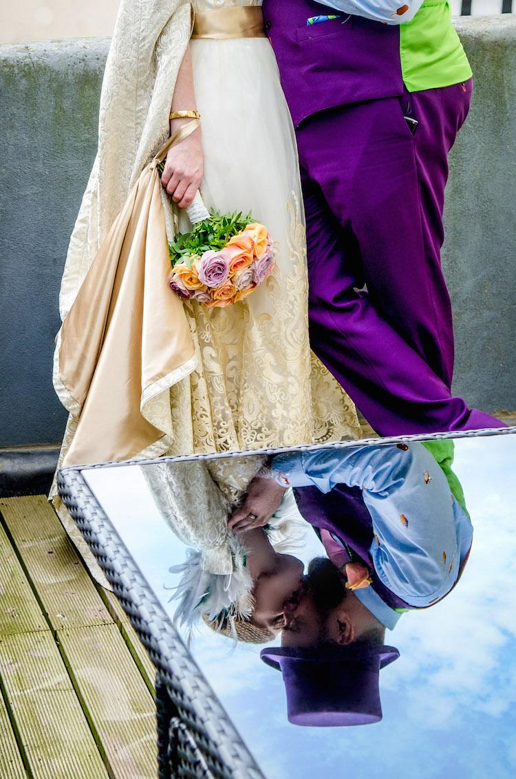 proud cabaret wedding bride and groom