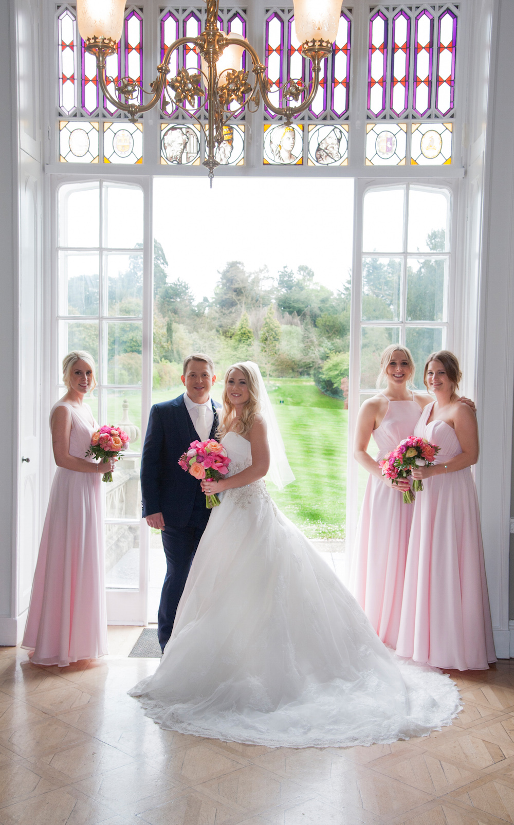 wedding party at nonsuch mansion, blush pink and coral colour scheme