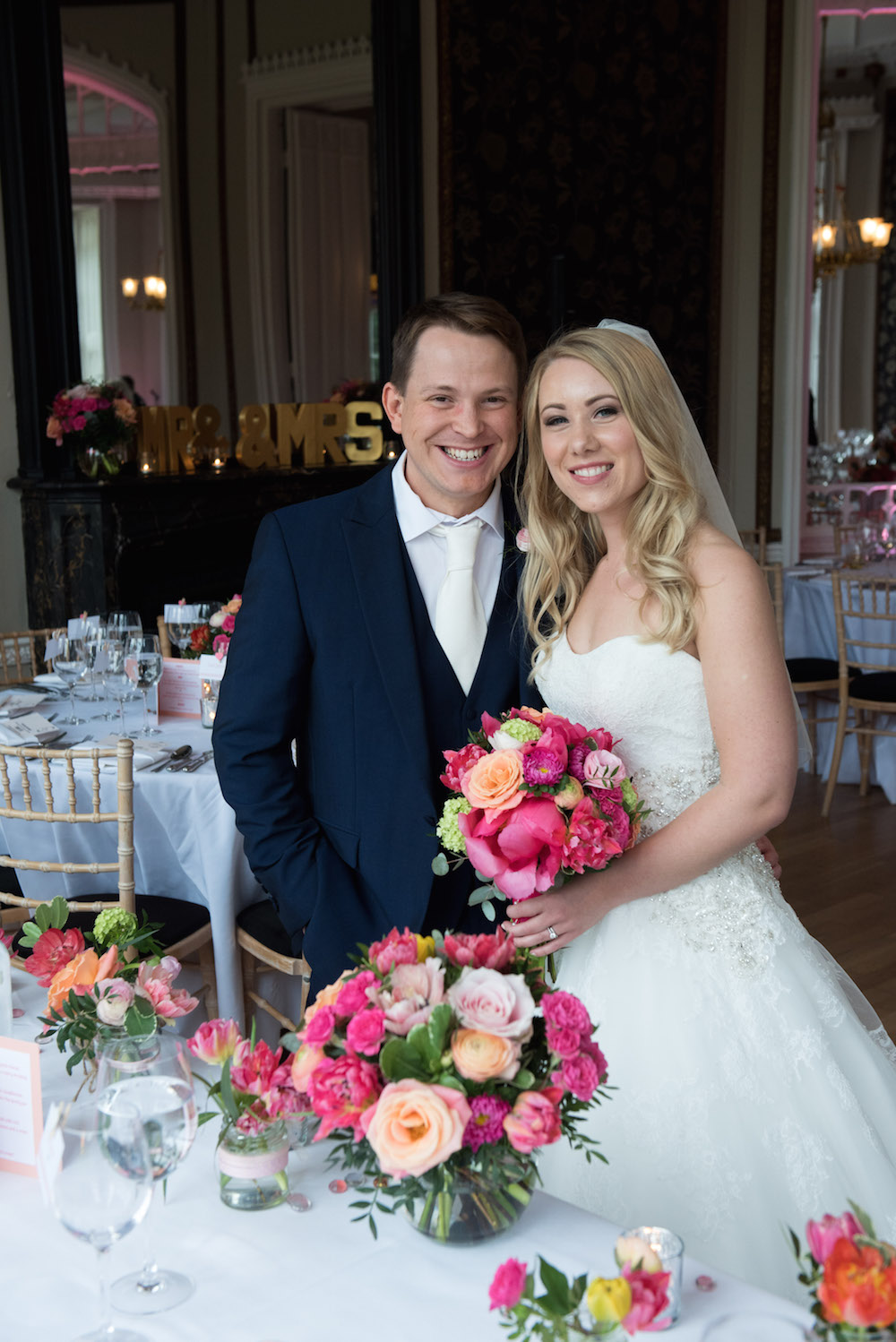 nonsuch mansion spring wedding, colourful table flowers
