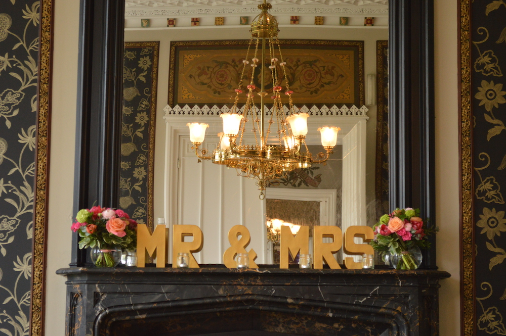 mantelpiece flowers at nonsuch mansion