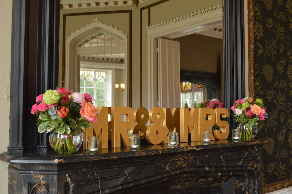 mr and mrs and flowers, surrey wedding