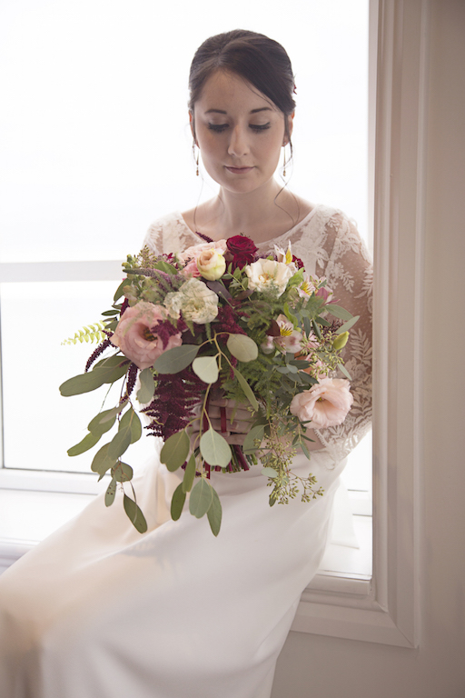 cascading bridal bouquet in blush and burgundy