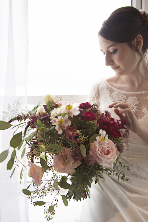 bride and bouquet, brighton wedding flowers