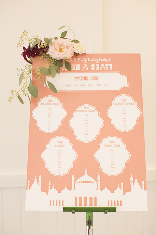 Brighton inspired wedding table seating plan
