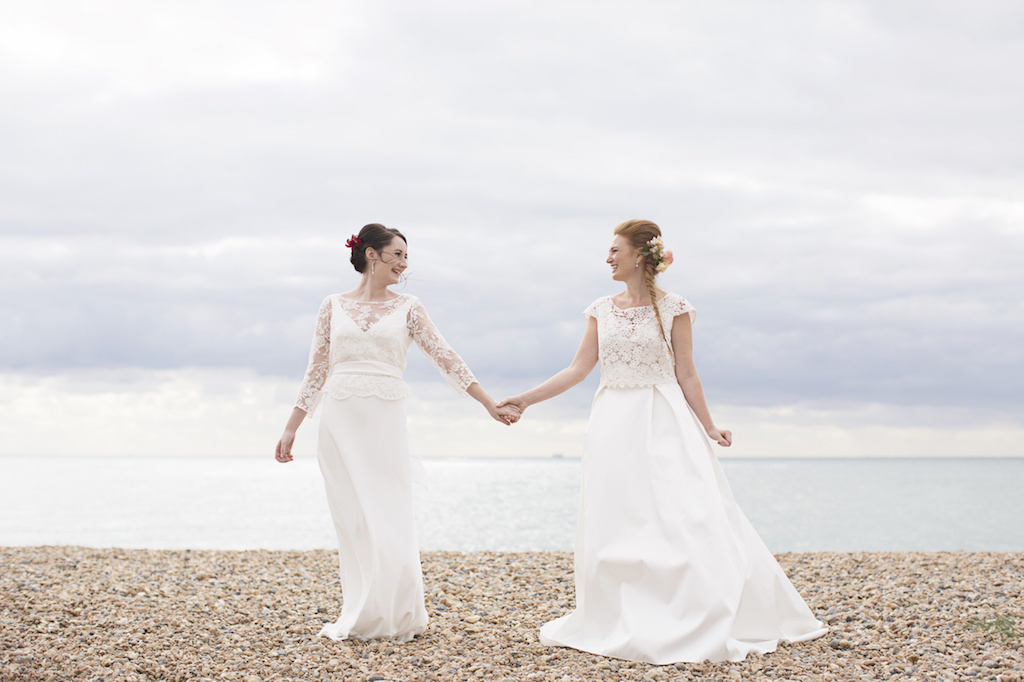 two brides on brighton beach