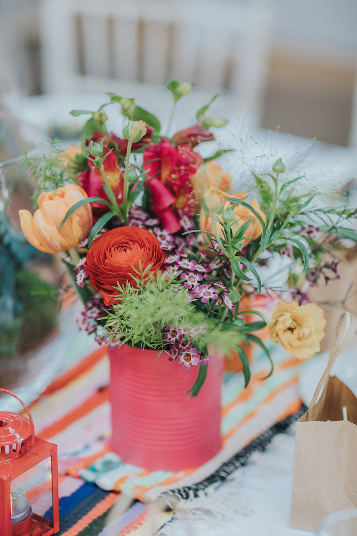wedding table flowers in tins, boho relaxed festival wedding