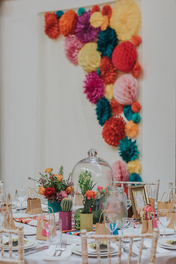 mexican fiesta table flowers and wall hanging at Fabrica in Brighton