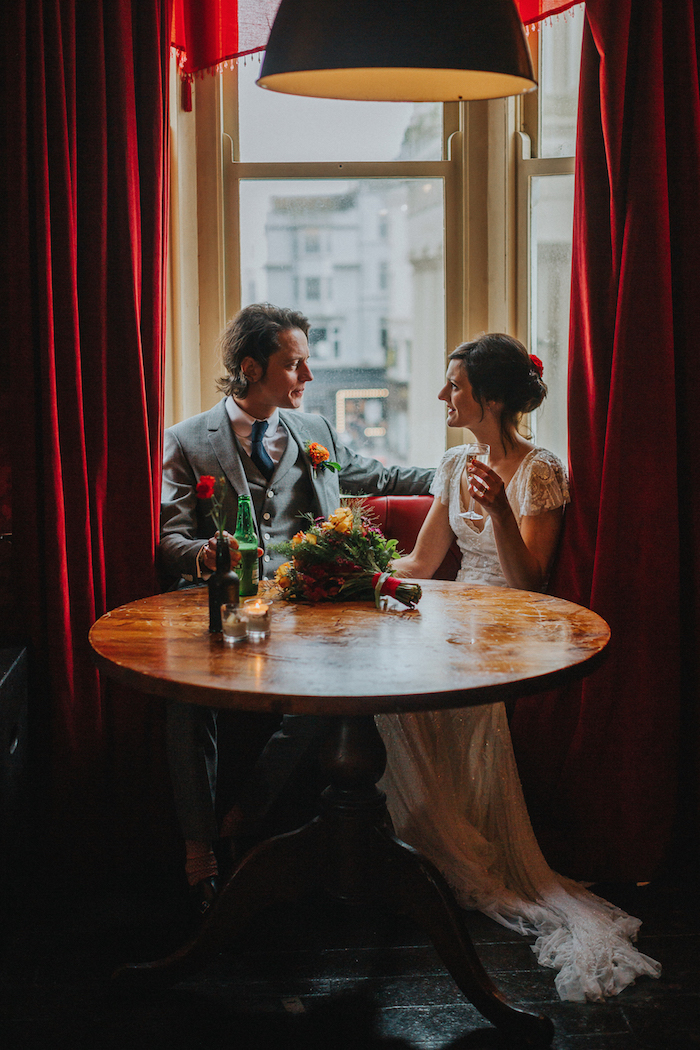 bride and groom at the mesmerist Brighton