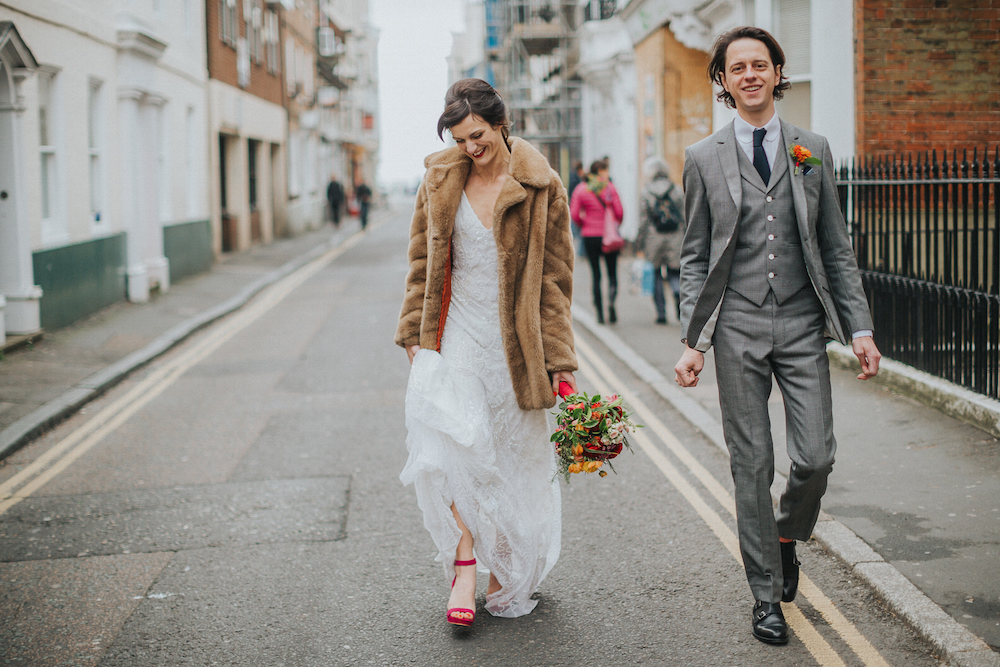 bride and groom in Brighton, mexican inspired colourful wedding