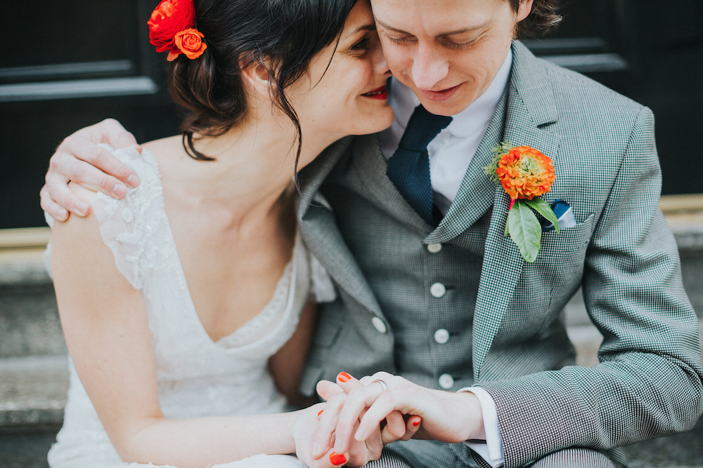 Brighton wedding with orange spring flowers