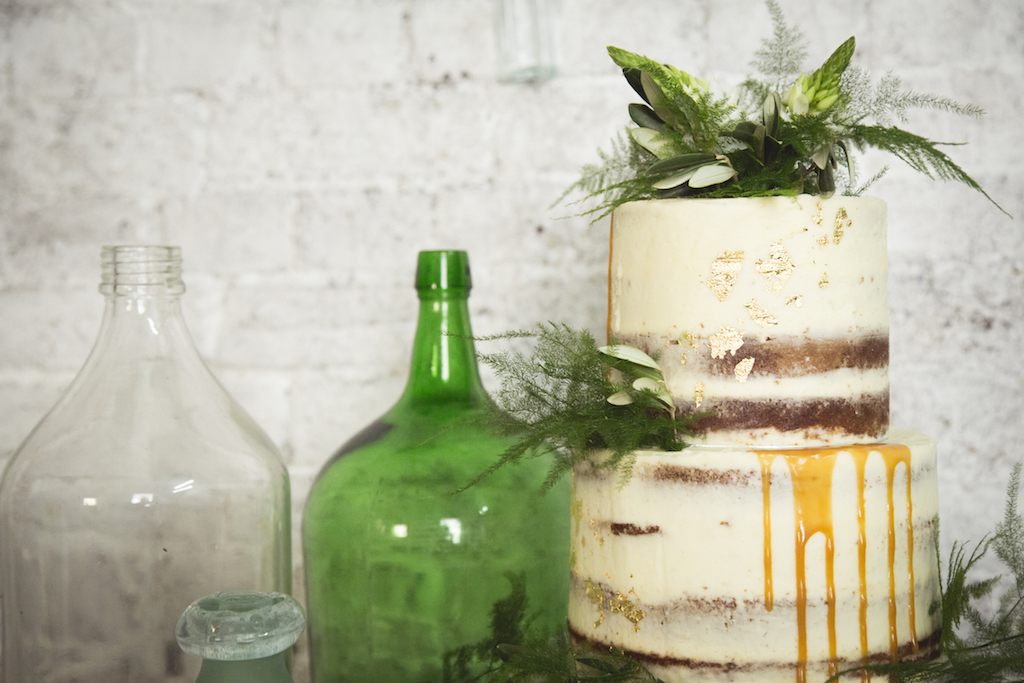 naked cake with salted caramel drips