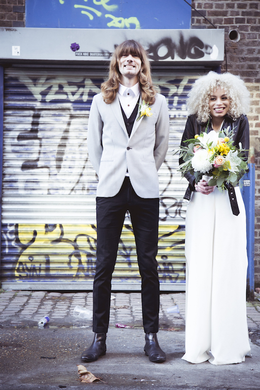 bride and groom wedding photo graffiti background Brighton