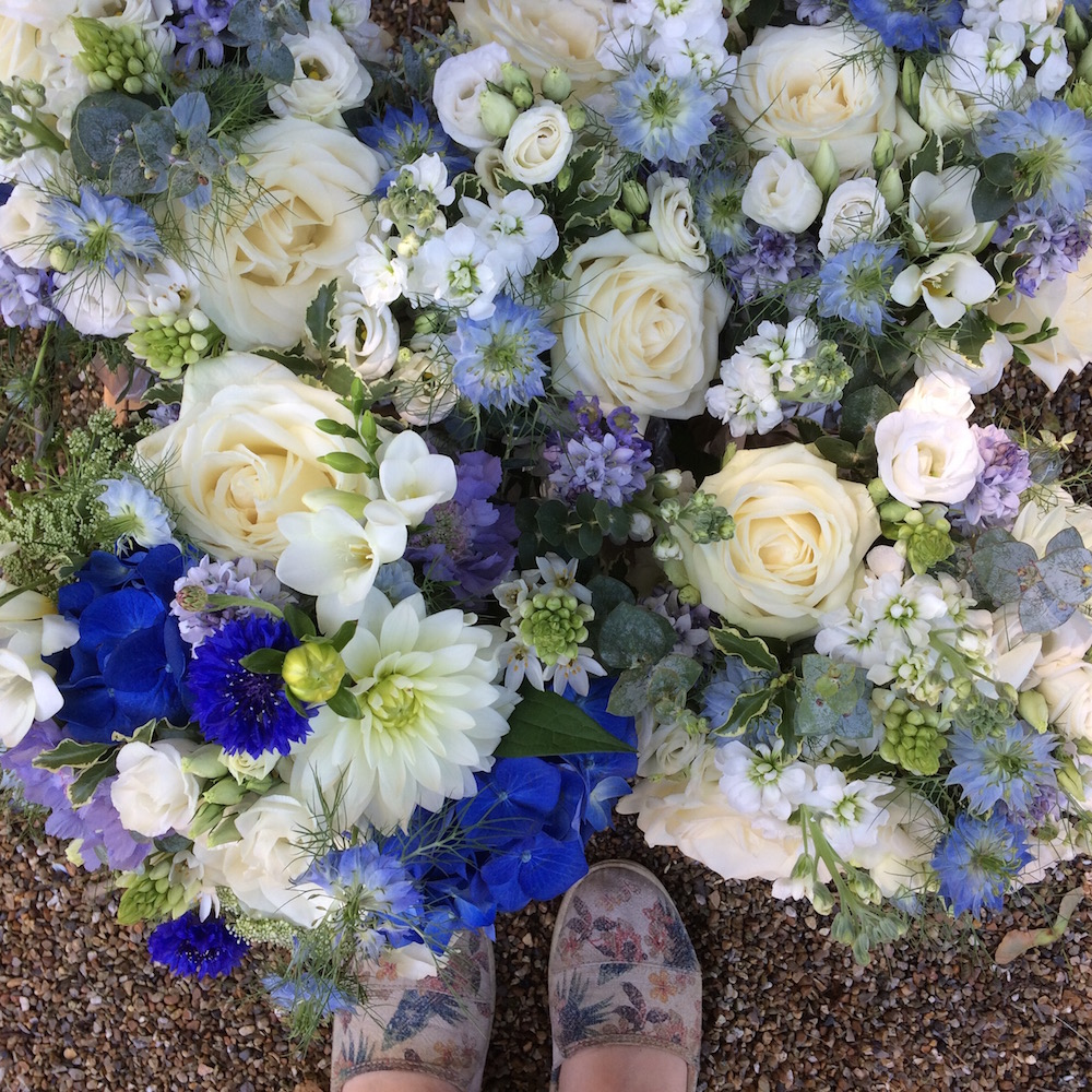 blue wedding flowers in june