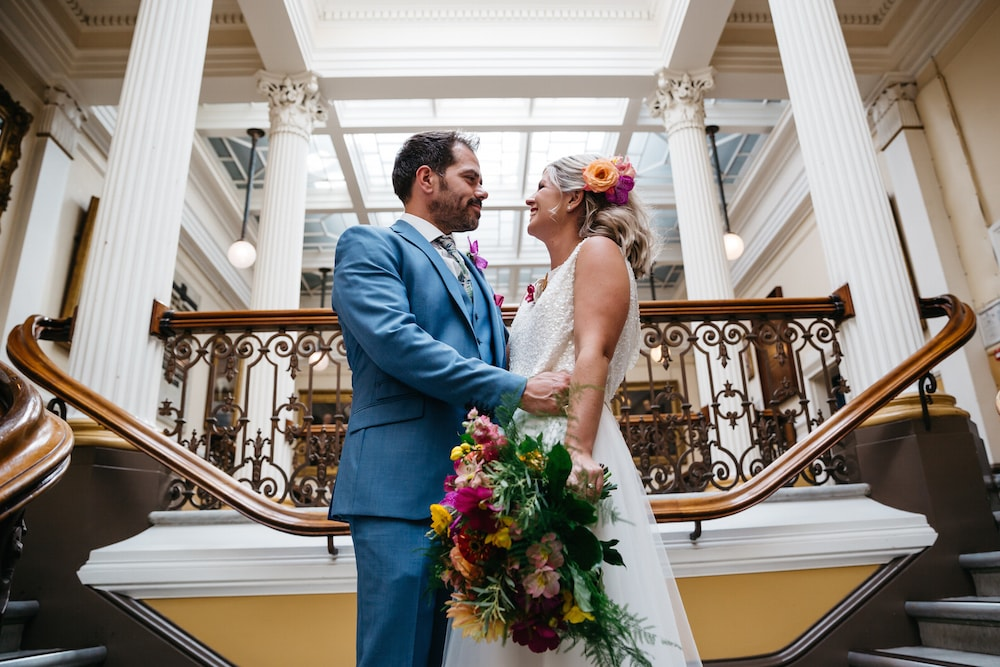 brighton town hall wedding flowers, tropical