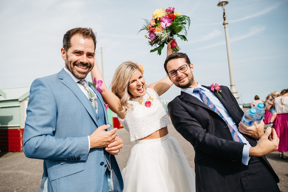 Hove wedding, beach huts, bride and groom