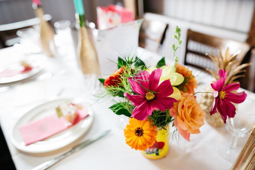 bright tins of flowers, brighton wedding