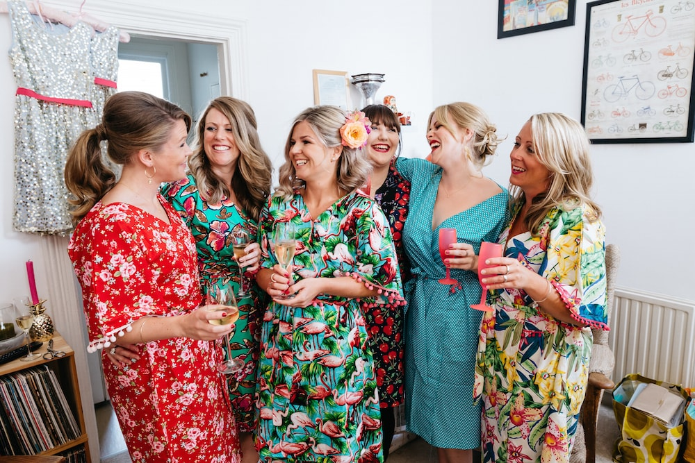 tropical wedding brighton. vintage bridesmaids dressing gowns