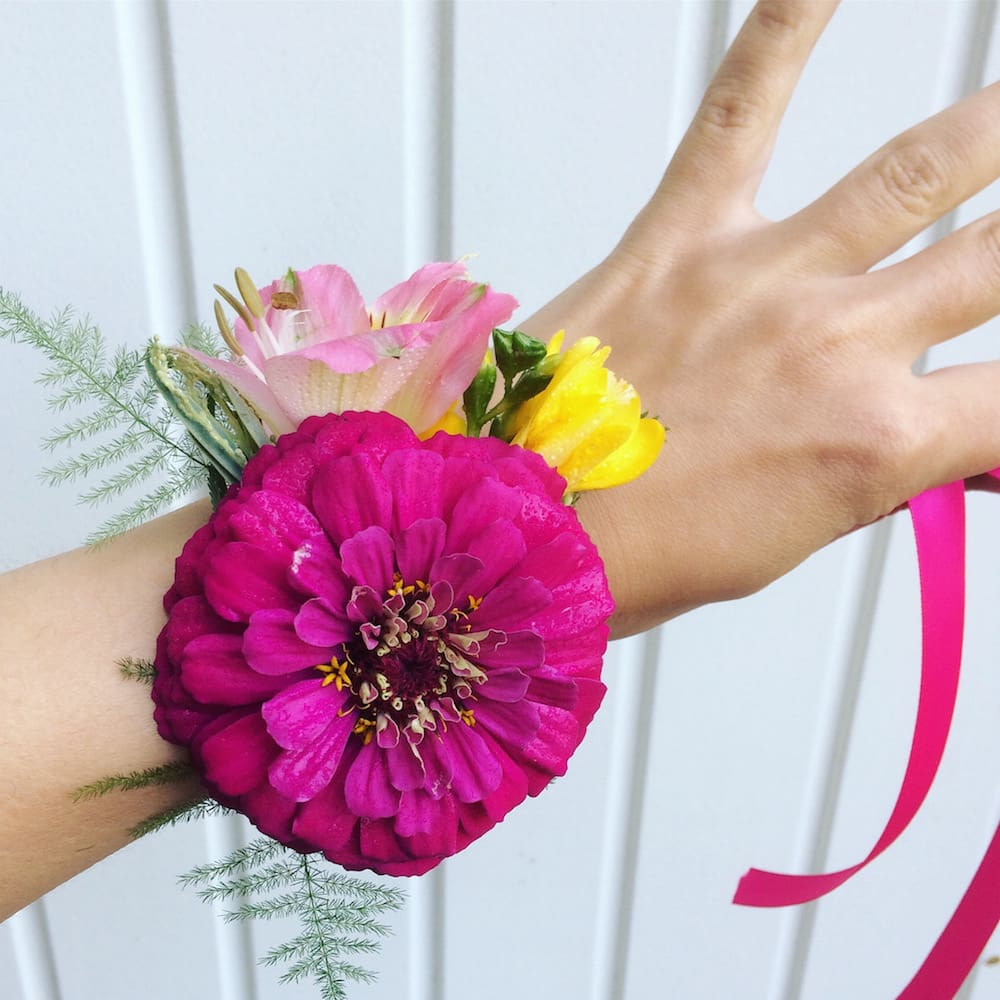 bridesmaids wrist corsage bright pink