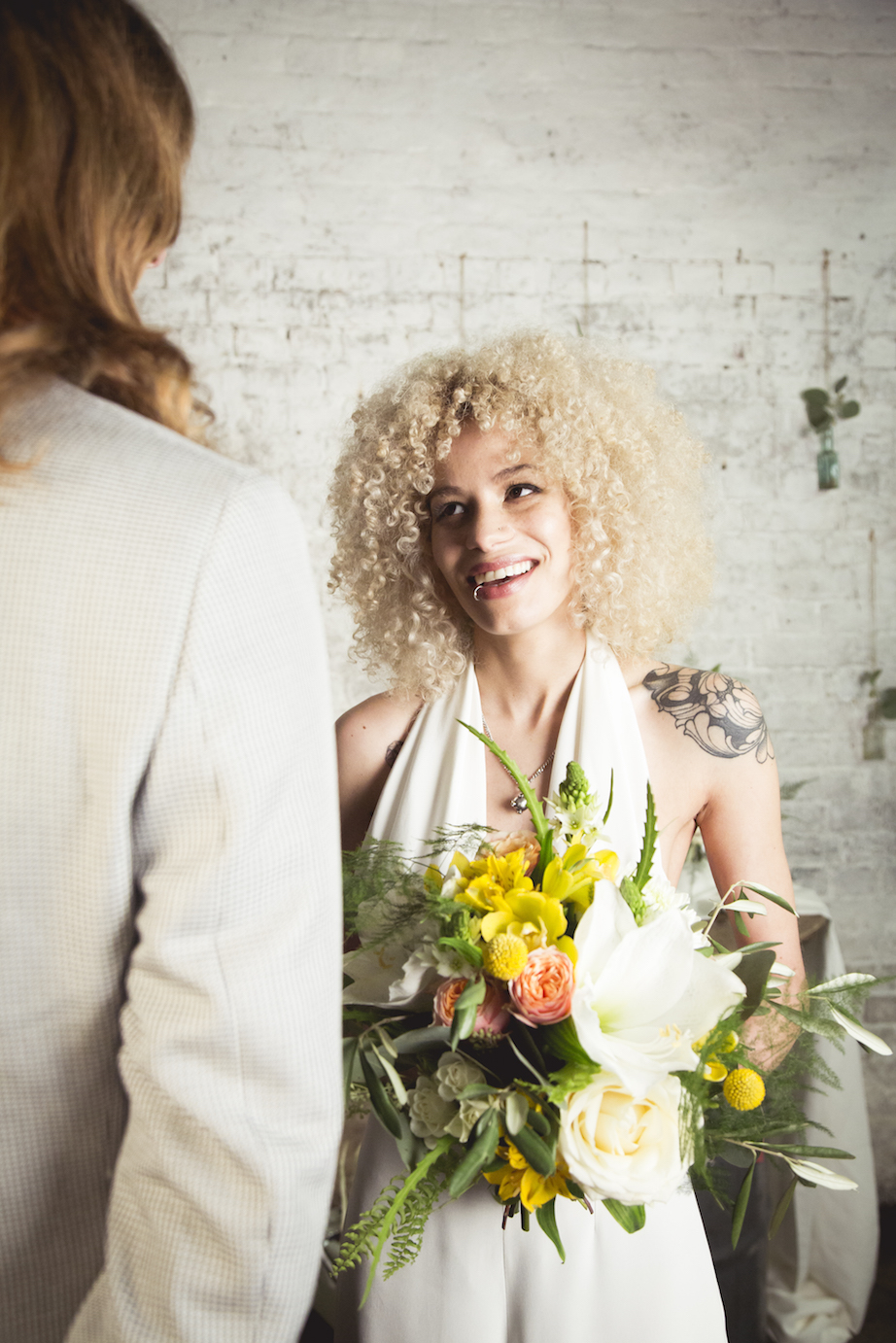 tattoo bride, show off your shoulders with halterneck