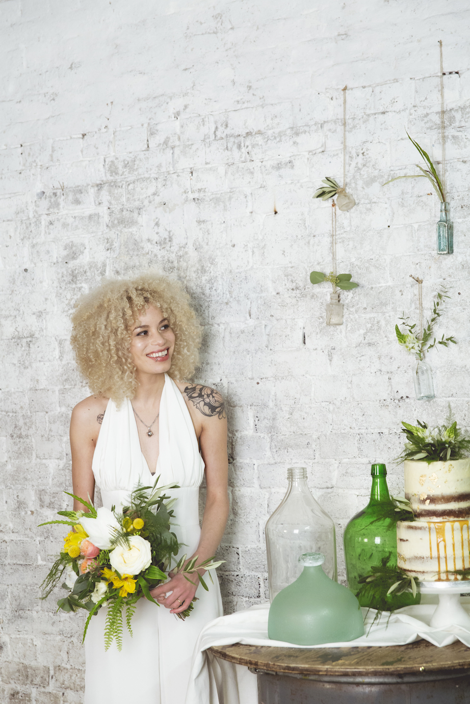 afro hair, wedding jumpsuit, 1970's inspiration