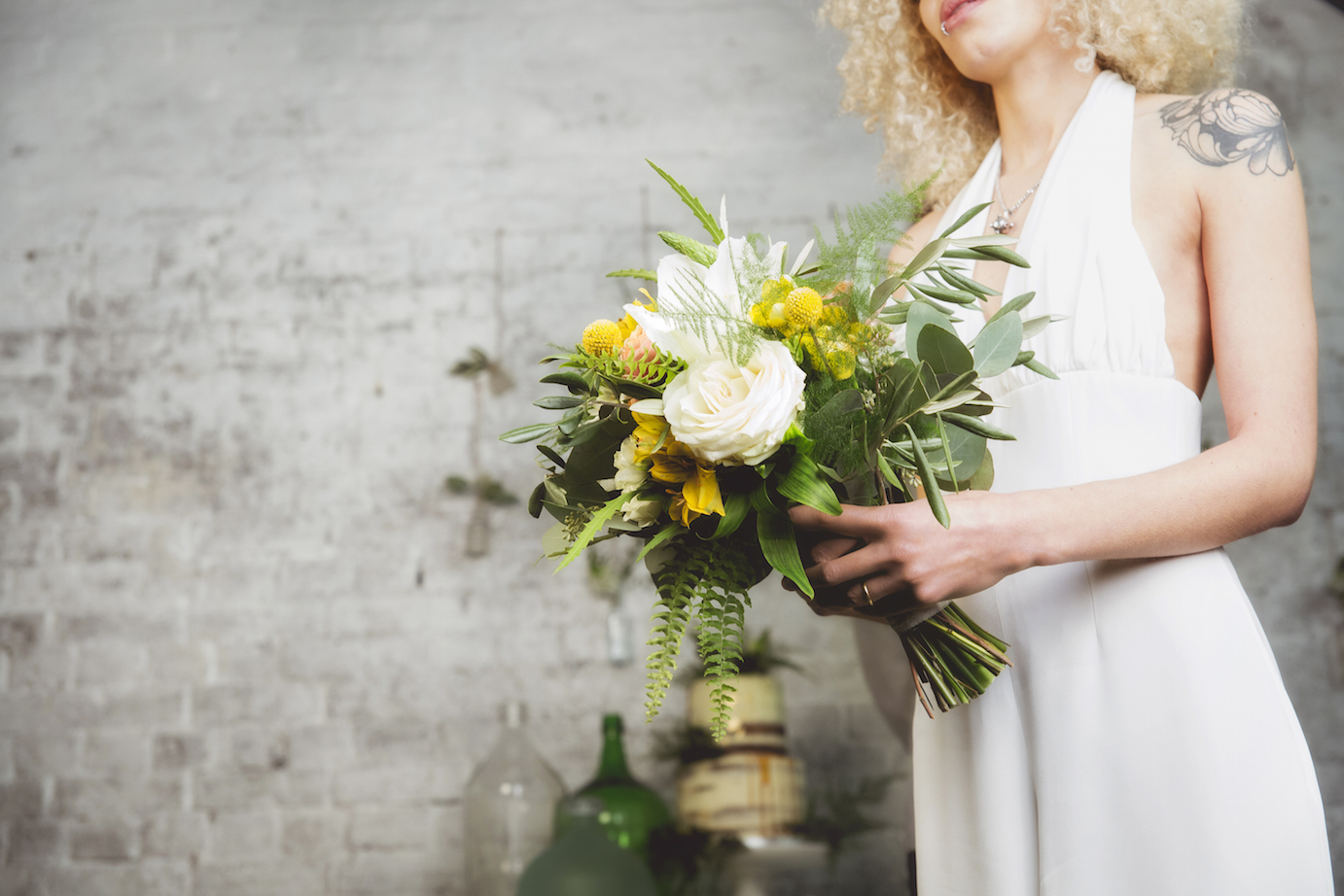 White and yellow bridal bouquet, winter wedding