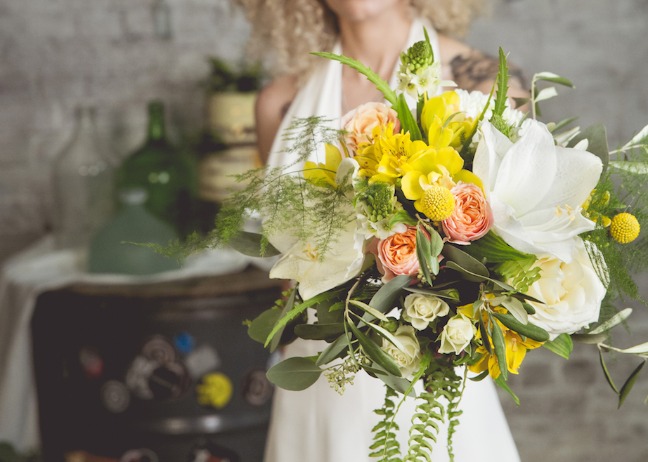 yellow, peach and white bridal bouquet