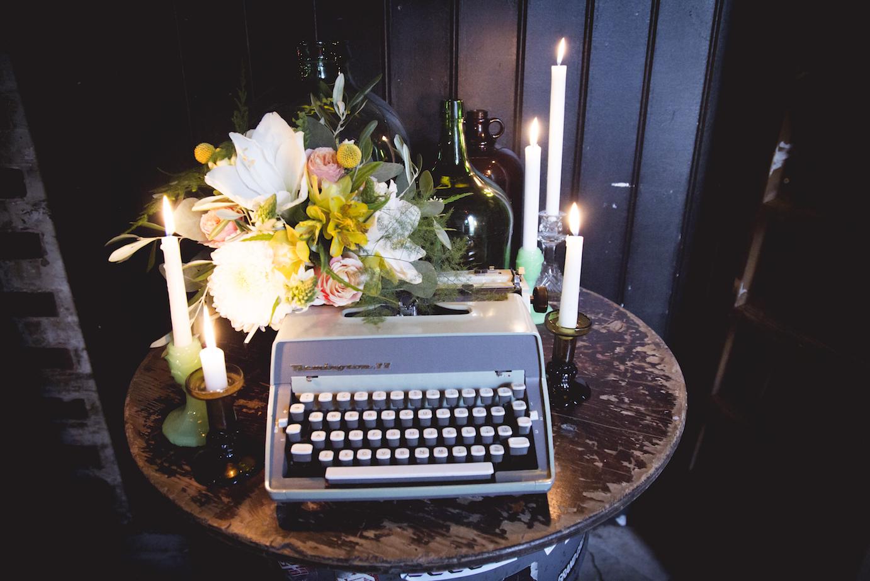 retro typewriter wedding prop, Brighton alternative wedding