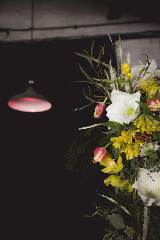 urban, industrial floral wedding arch
