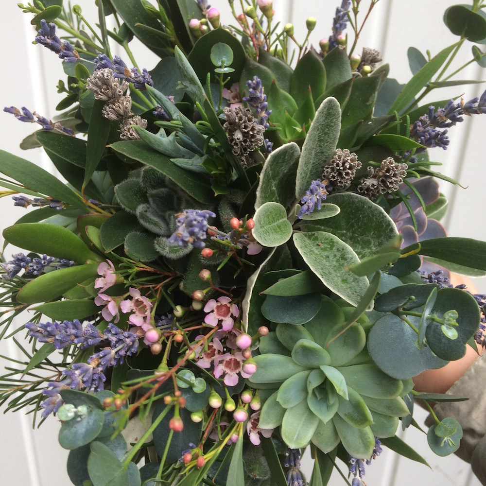 dried lavender and succulent bridal bouquet