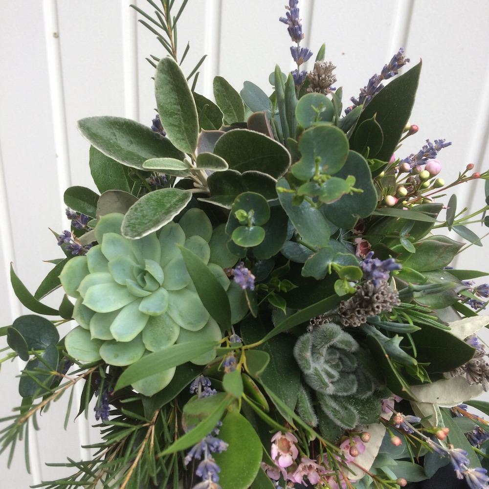 lavender and succulent bridal bouquet