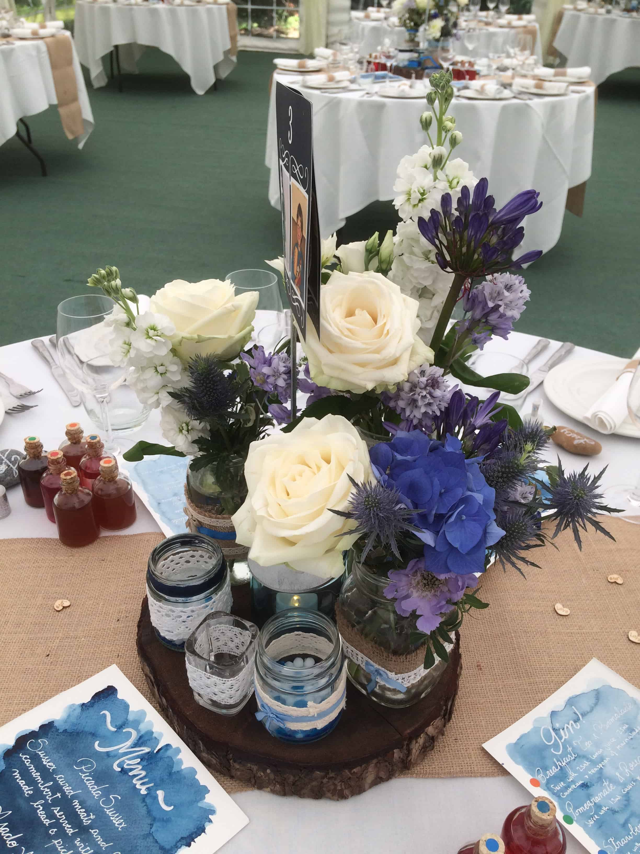 blue and white table flowers at The English Wine Centre, East Sussex