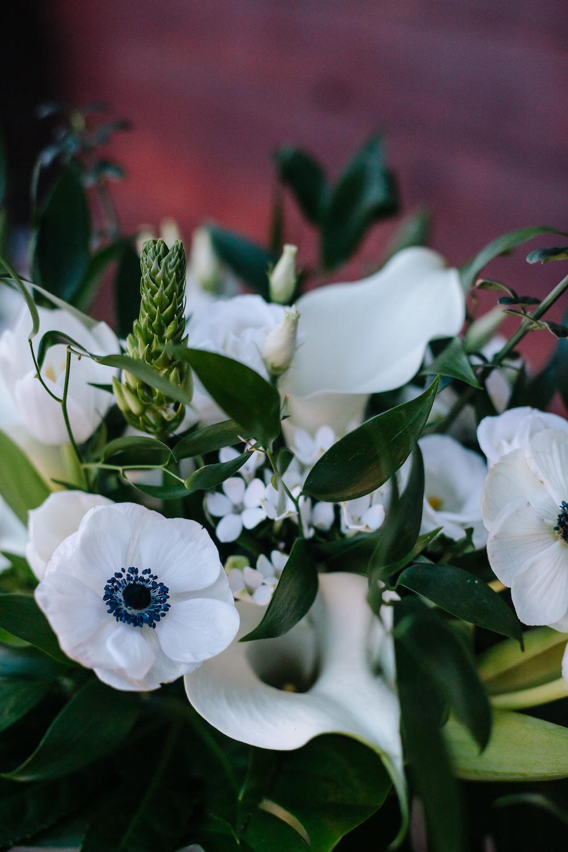 white anemones for stylish worthing wedding at Long furlong barn