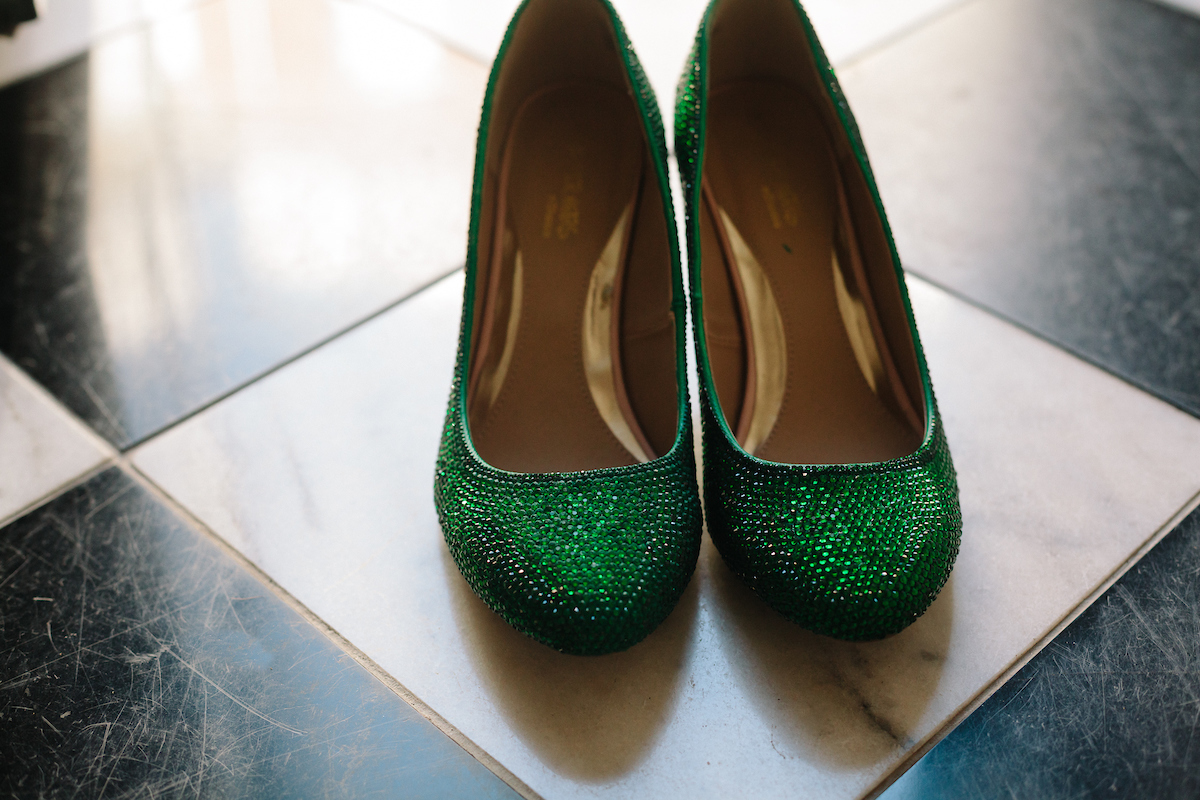 green glittery wedding shoes