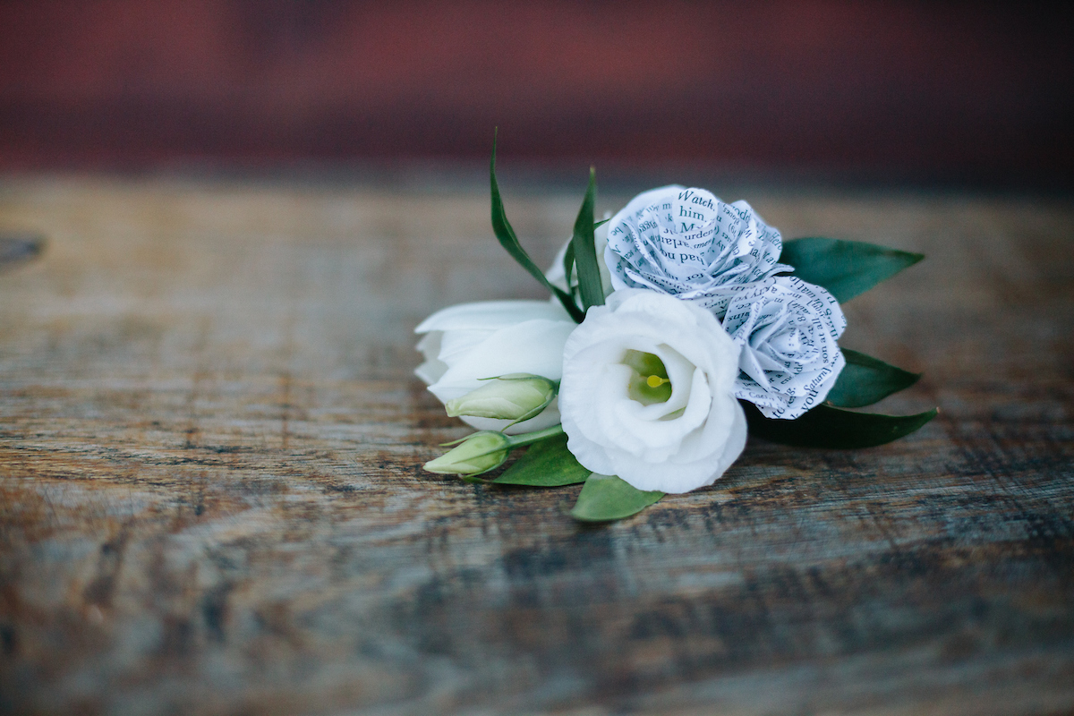 tulip, lisianthus and paper flower corsage