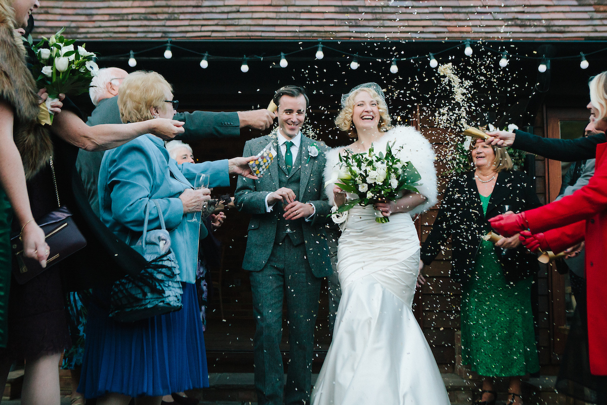 winter wedding at long furlong barn sussex