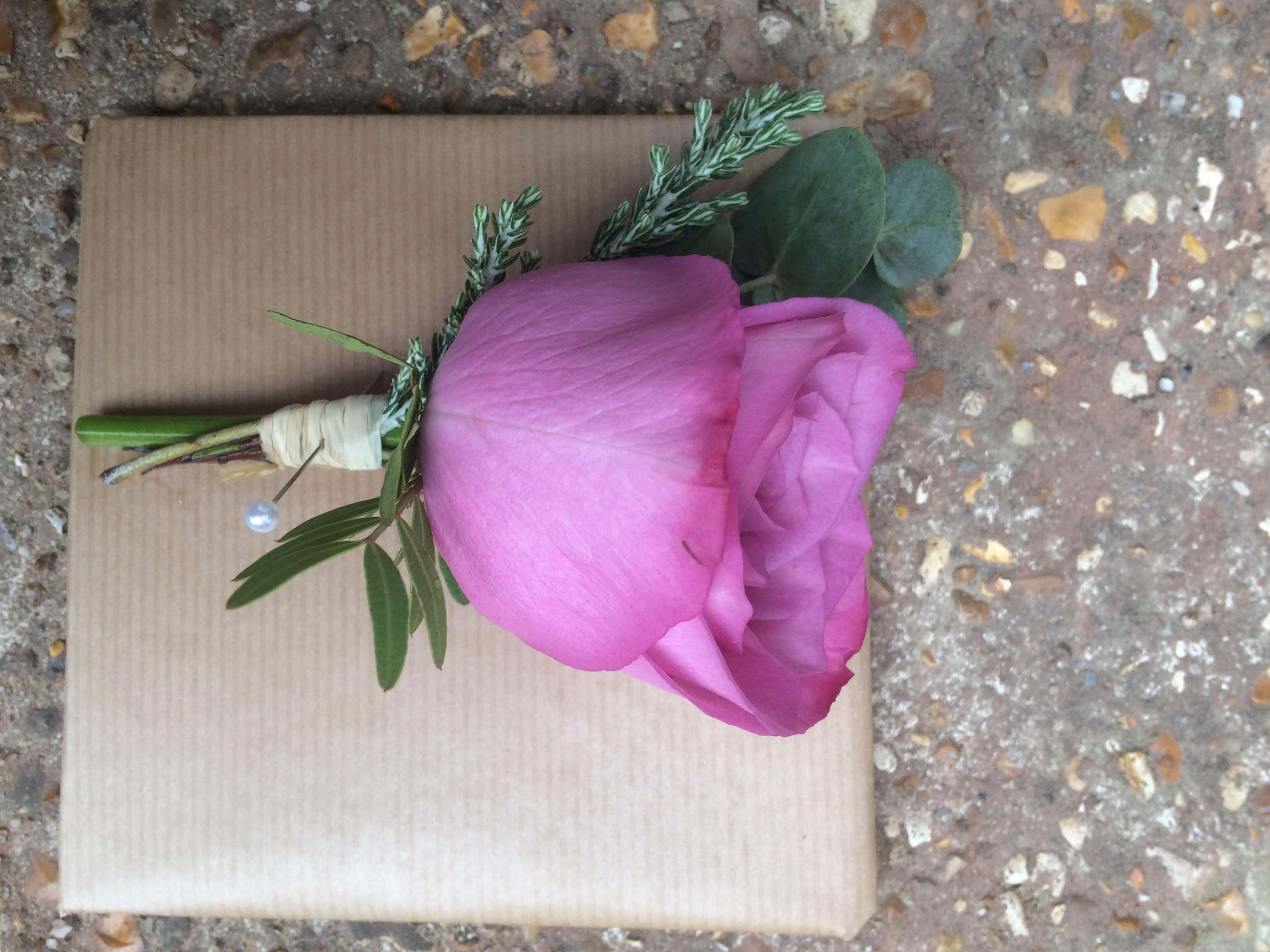 pink purple moody blue rose buttonhole at Pangdean Barn, Brighton