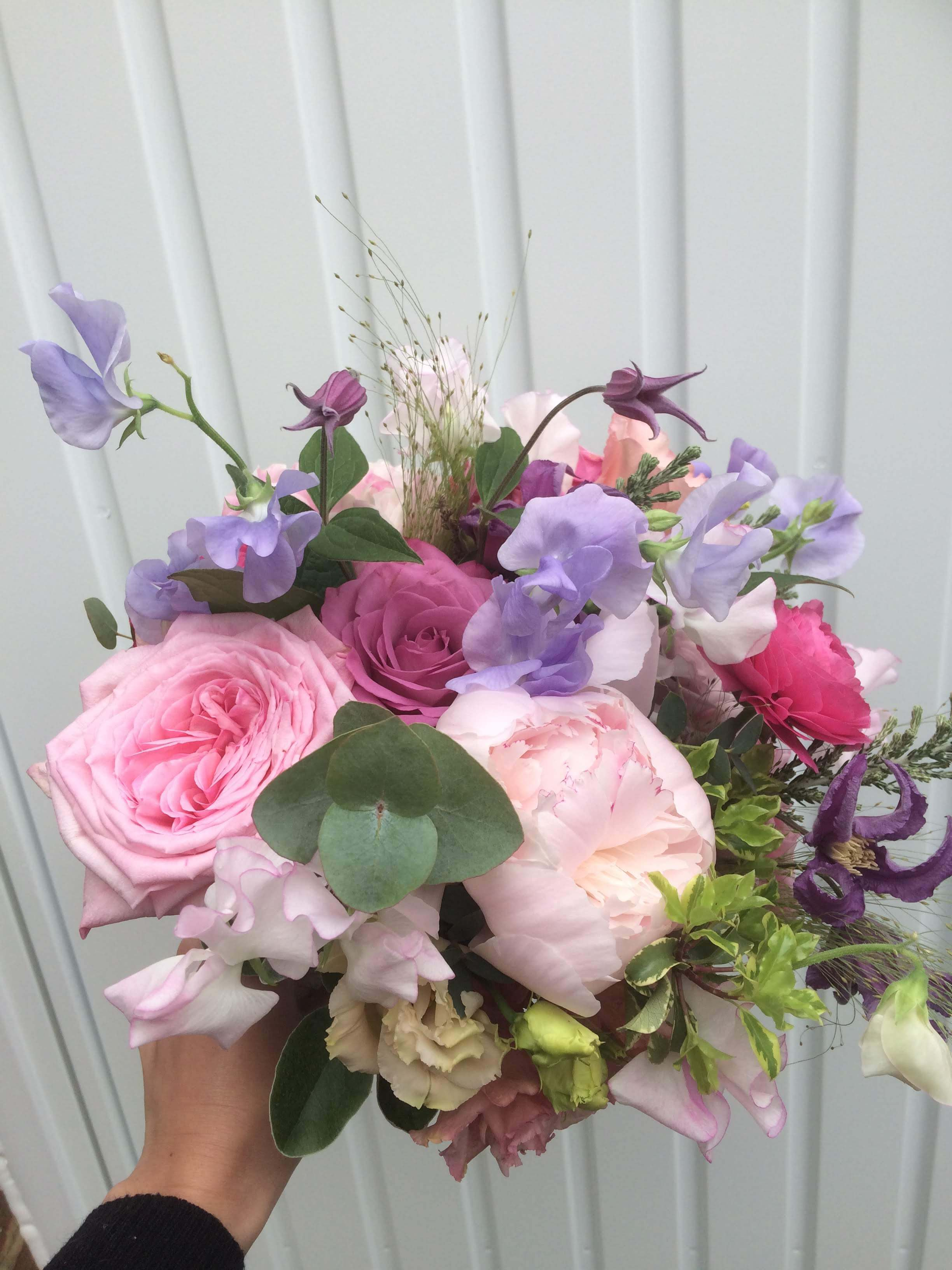 pangdean barn wedding florist, bridal bouquet with sweet peas and peonies