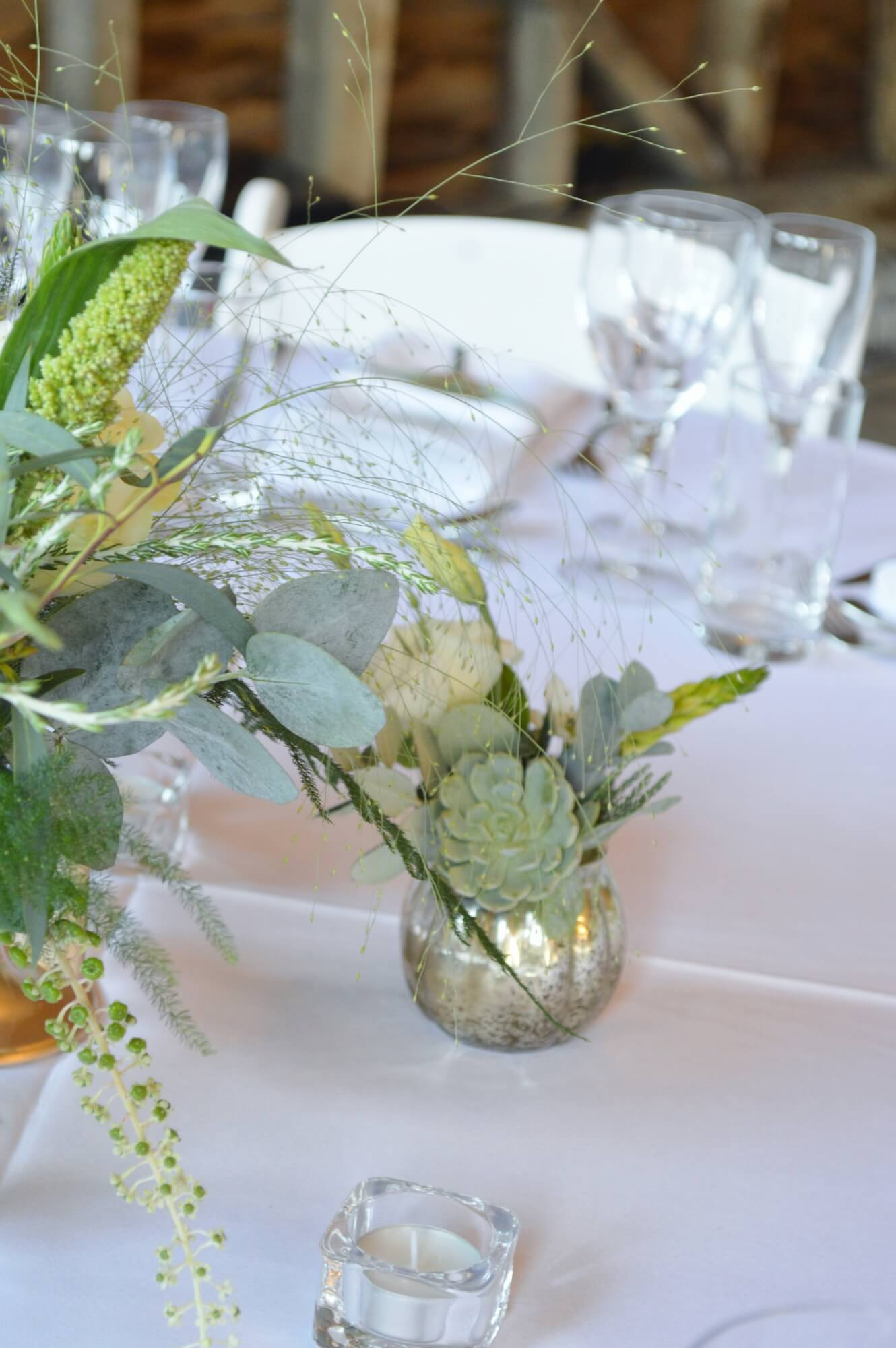 succulent and gold vase wedding table decoration