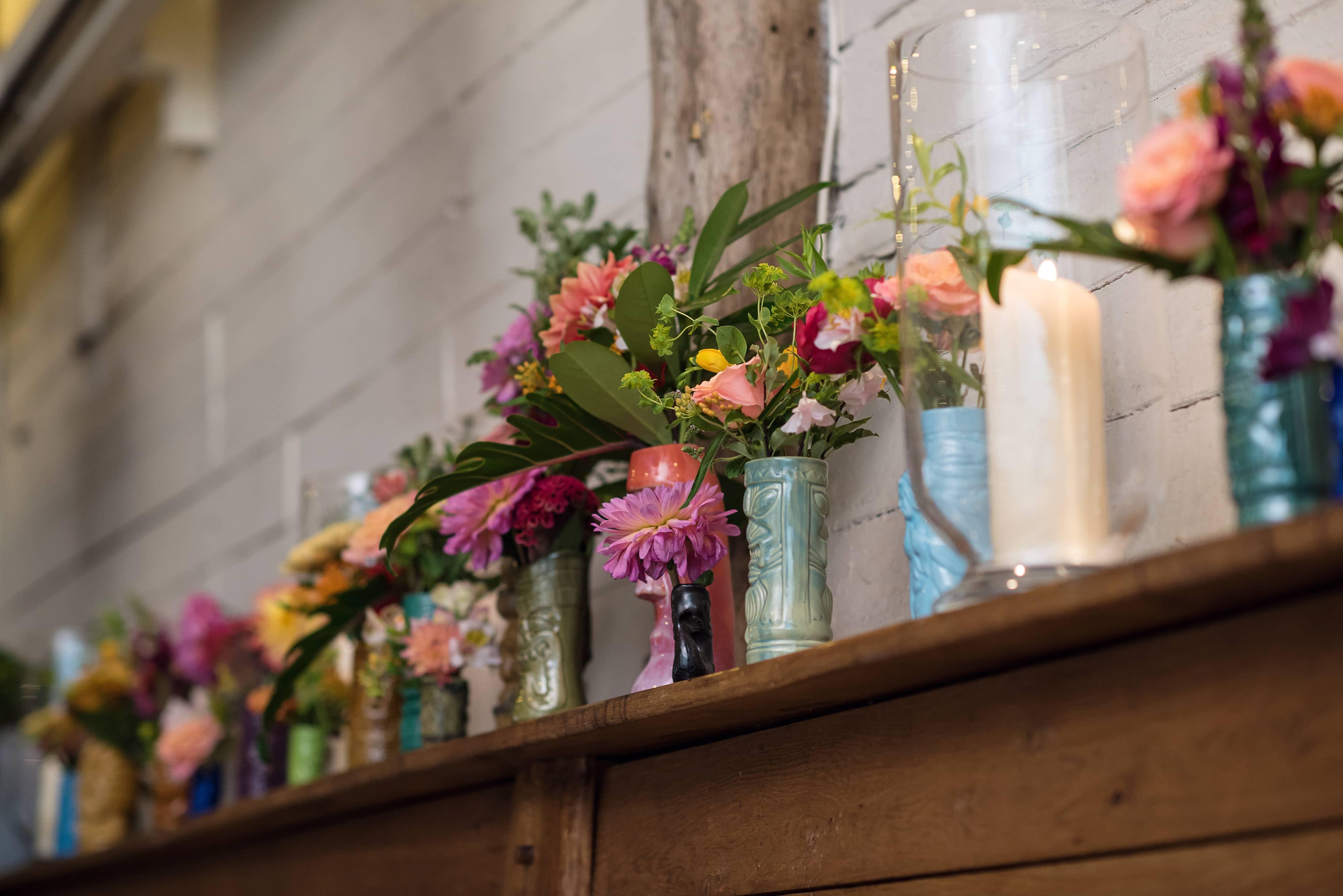 tiki mug wedding flowers