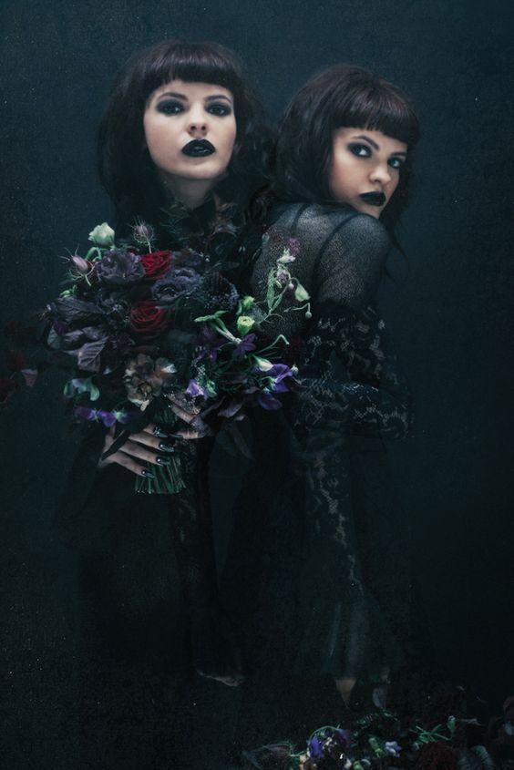 black flowers for a goth bridal bouquet