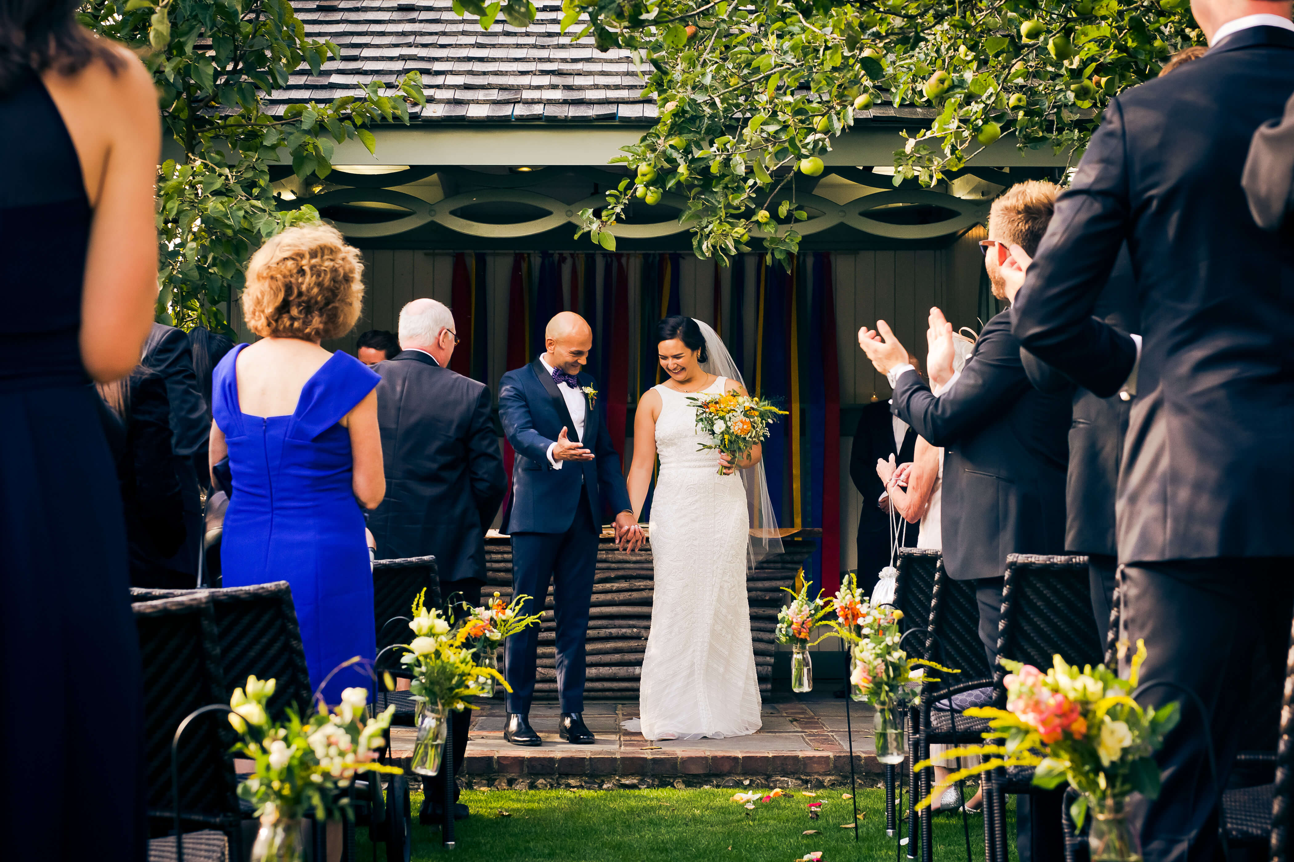 outdoor ceremony at pangdean barn brighton