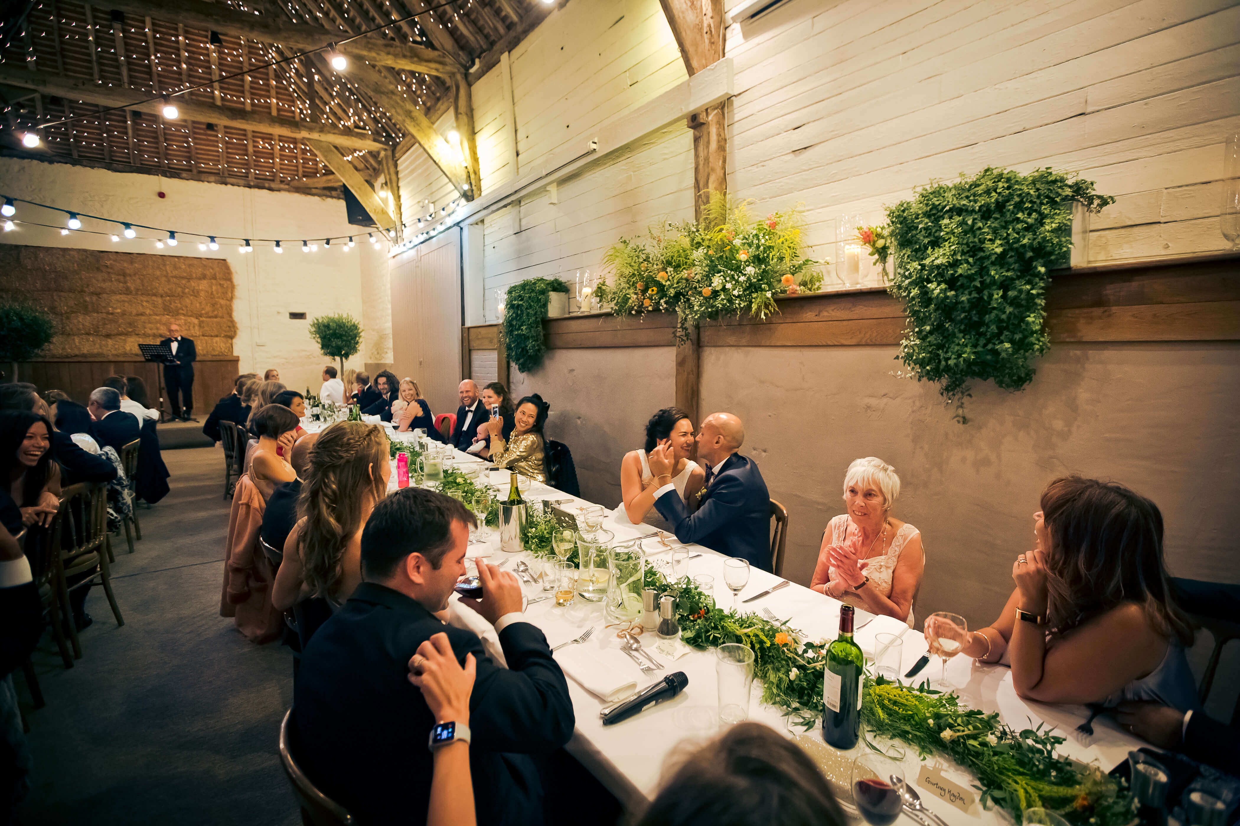 long banquet style tables at Pangdean barn Sussex