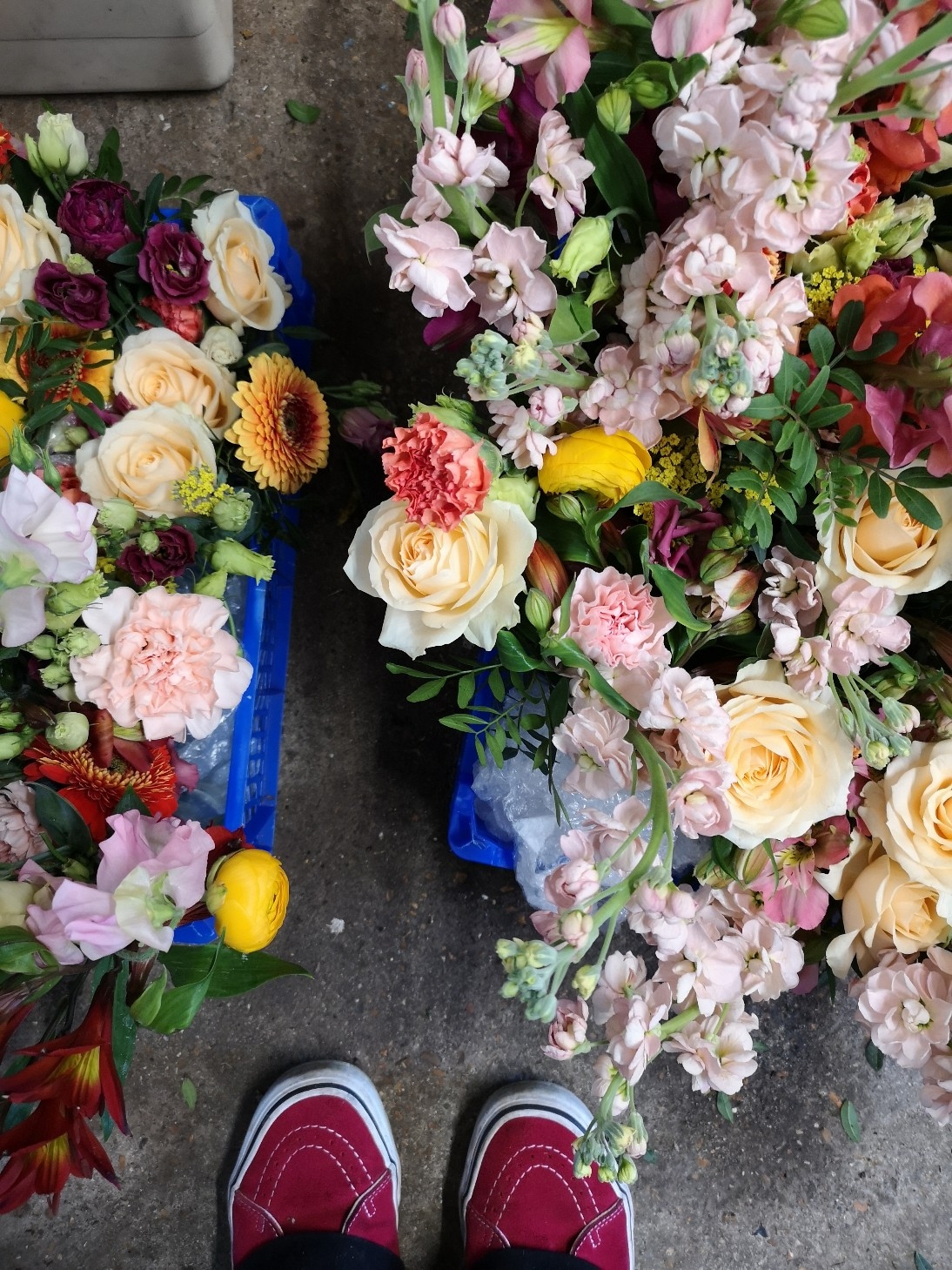 wedding flowers packed and ready to transport