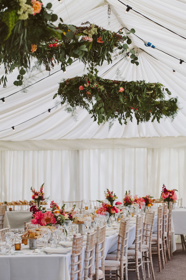 hanging floral hoops for a country estate wedding