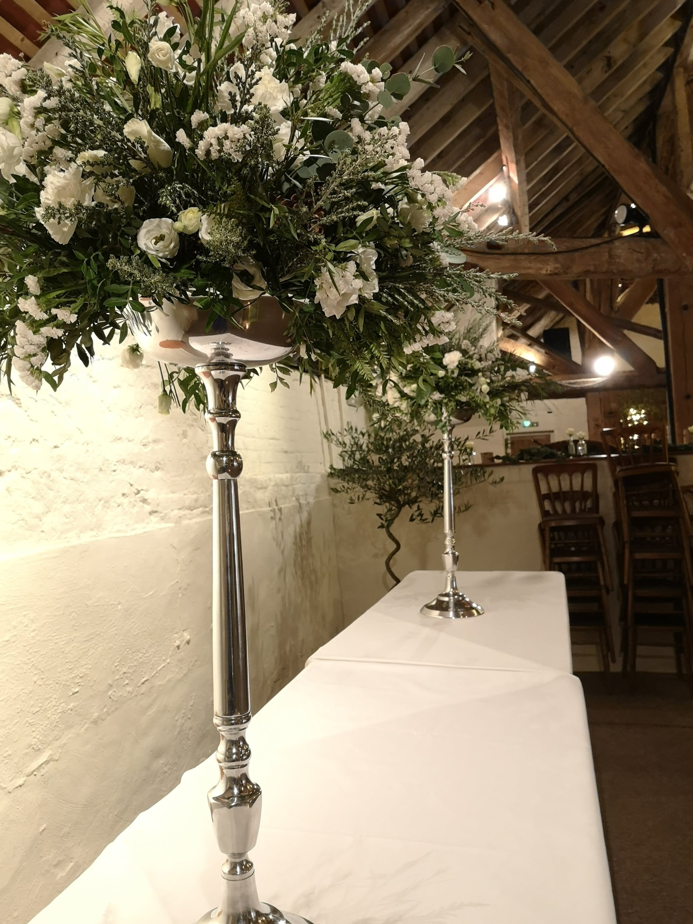 elevated table centres, biodegradable and plastic free flowers
