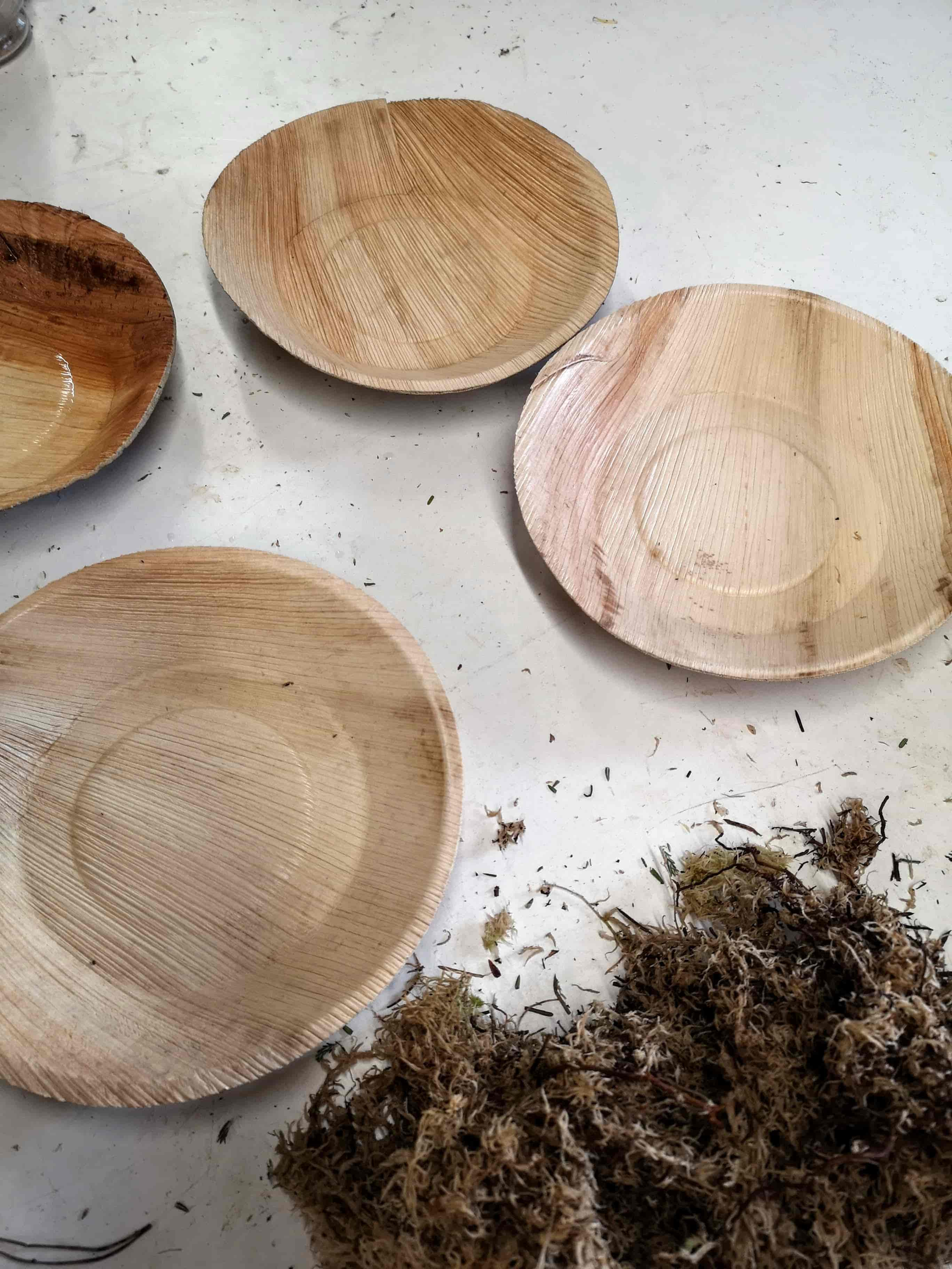 bamboo bowls to use with moss for foam free floral arrangement