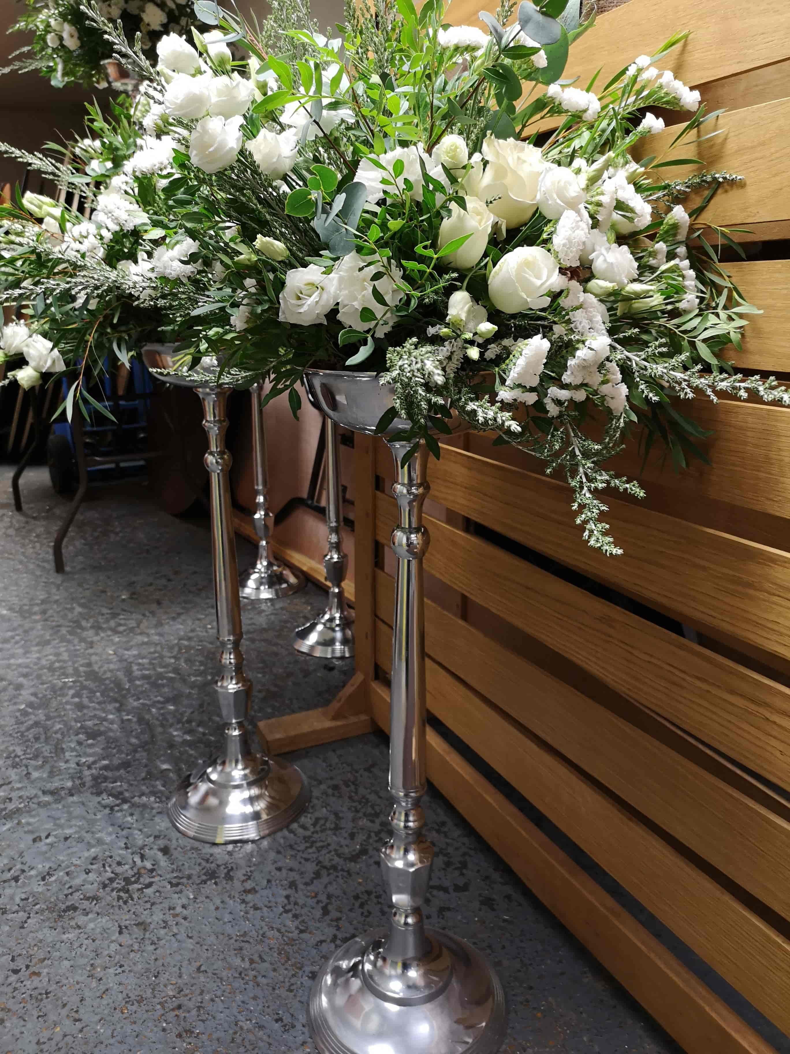 elevated flowers for white wedding, all foam free and biodegradable